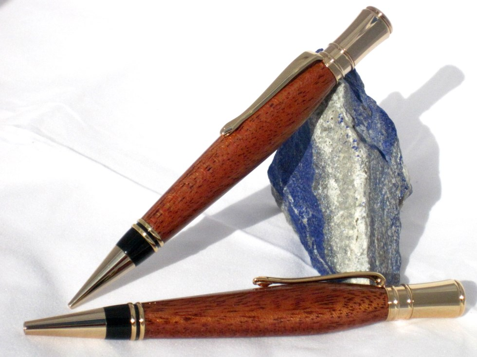Wood Pen Pencil Set in exotic sapele wood with 24k