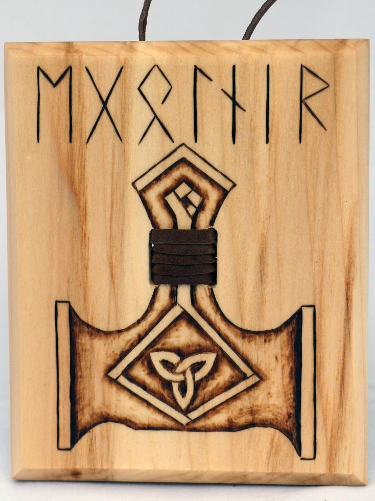 Thor's hammer Mjolnir hanging wood burn display