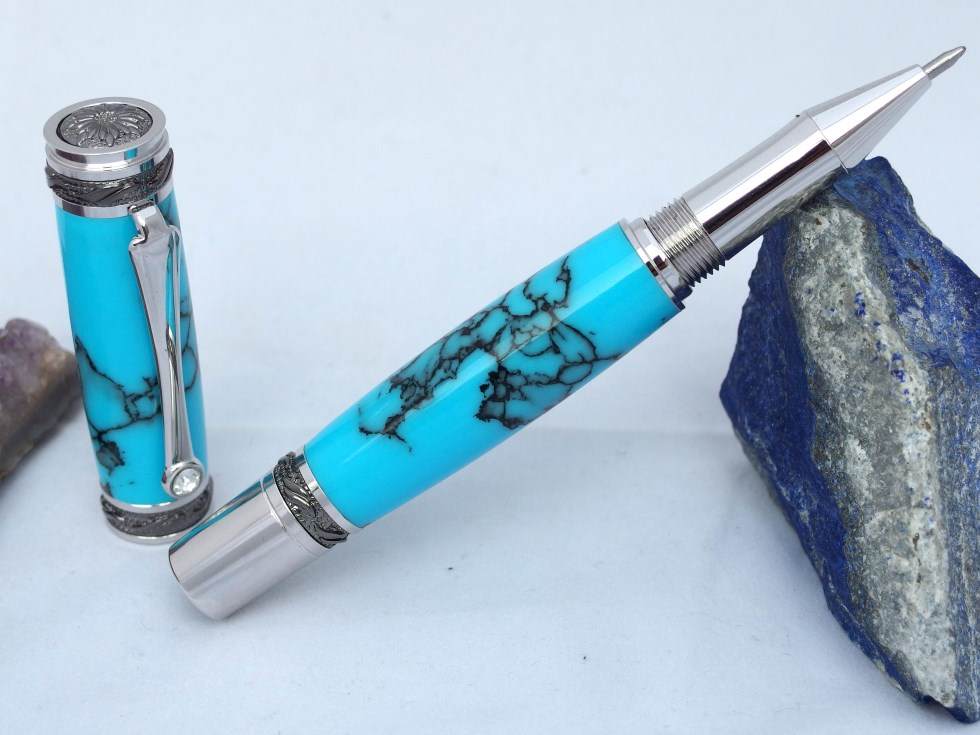 Marbled turquoise Trustone handcrafted pen