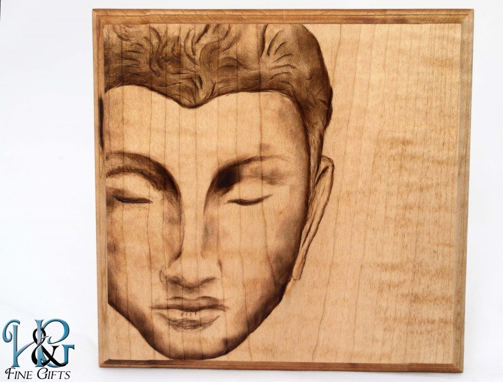 Meditating Buddha hanging wood burn display