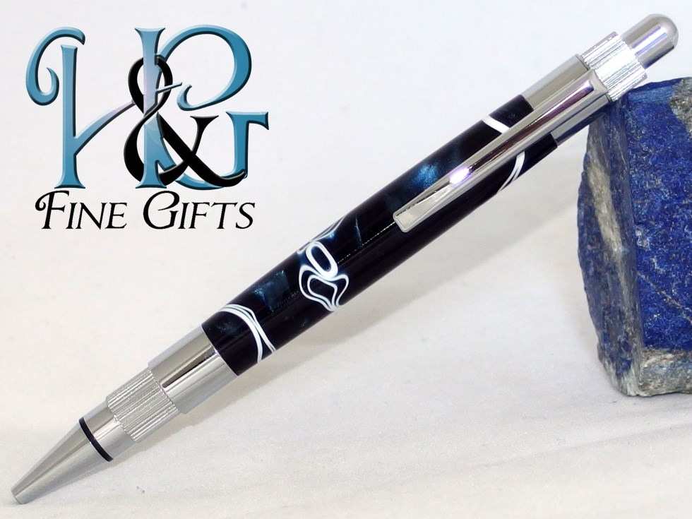 Dark blue handcrafted pen in chrome setting