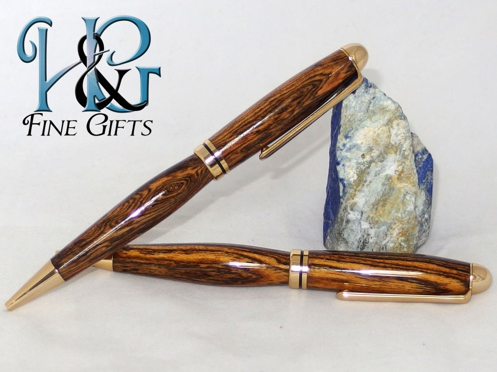 Two pen gift set in zebra wood and gold setting