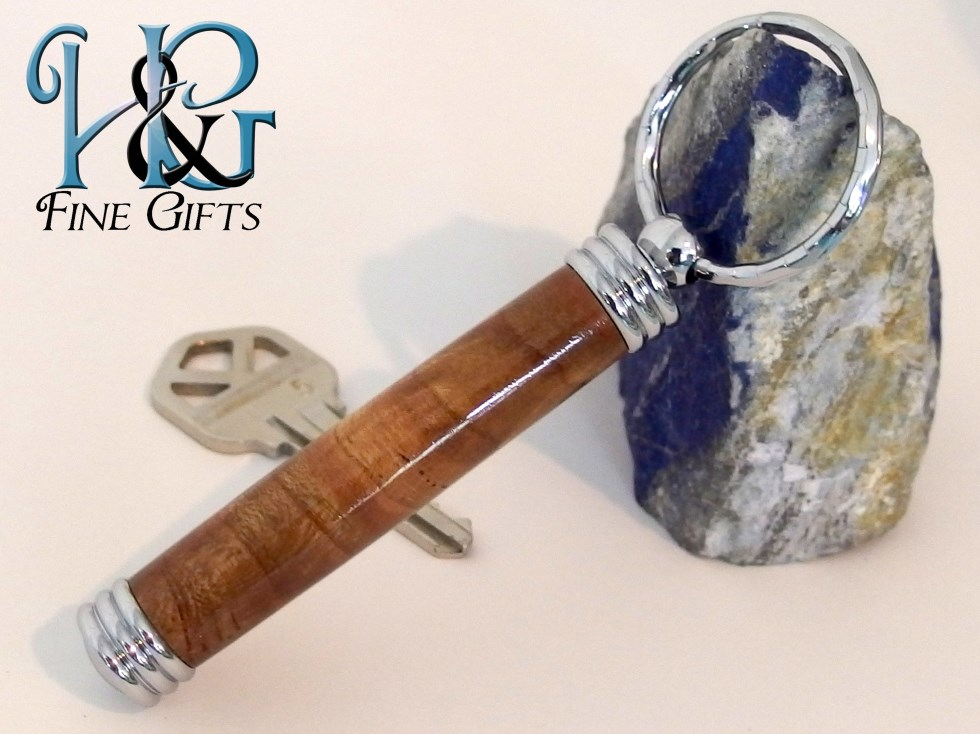 Wood keychain with secret compartment in Japanese
