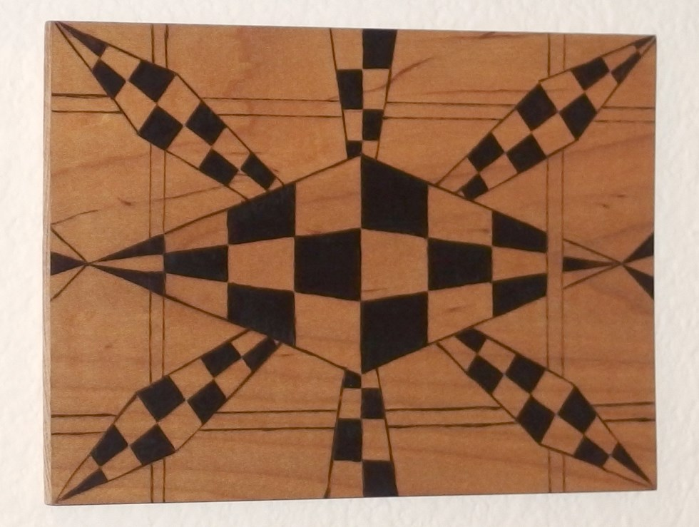 Abstract perspective art handcrafted pyrography 1
