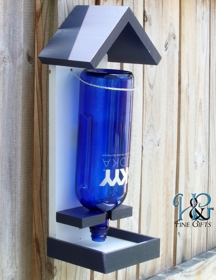 Bird feeder liquor bottle in blue and white