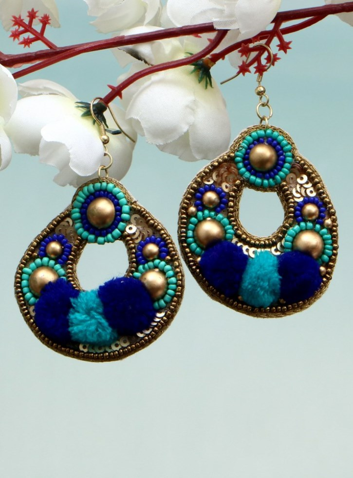 Handmade Artificial Earrings Sky Blue And Imperial