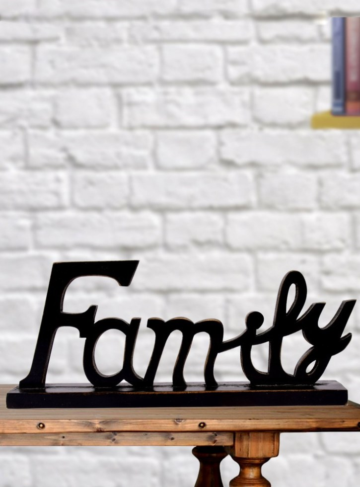 Wooden Family Letter Black Coffee Color