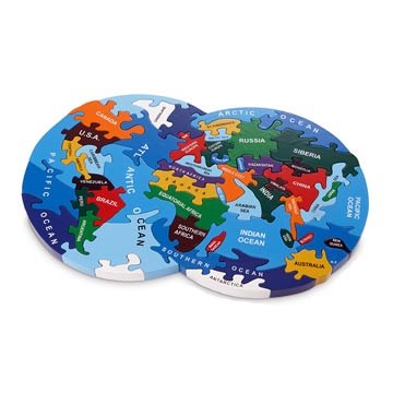 World Map wooden jigsaw puzzle non-toxic of paint