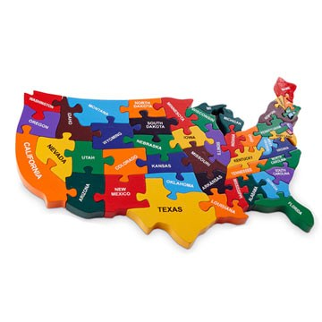 Map of USA wooden jigsaw non-toxic of paint