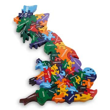 Map of Britain handmade wooden jigsaw puzzle