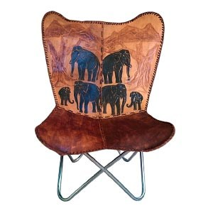 BKF Cowhide Leather Chair Handmade Butterfly Chair