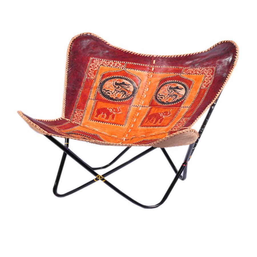 Charmant BKF Cowhide Leather Chair Hand Made Butterfly Hardoy Chair Stainless Steel  Frame Emboss Design
