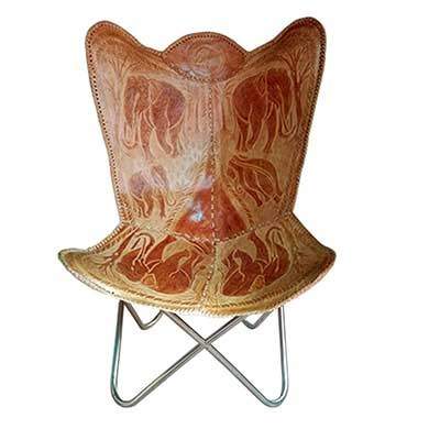 BKF Cowhide Leather Chair Hand Made Butterfly Chai