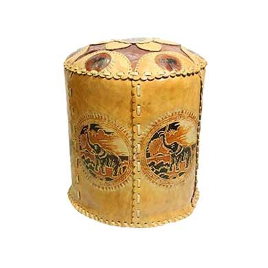 Genuine Leather Hand Made Pouffe Floor Stool