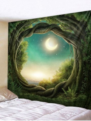 Fabric Wall Tapestry/Throw Moon Forest Path