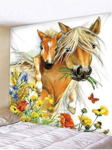 Fabric Wall Tapestry/Throw Horse and Foal