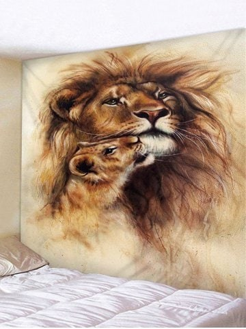 Fabric Wall Tapestry/Throw Lion and Cub