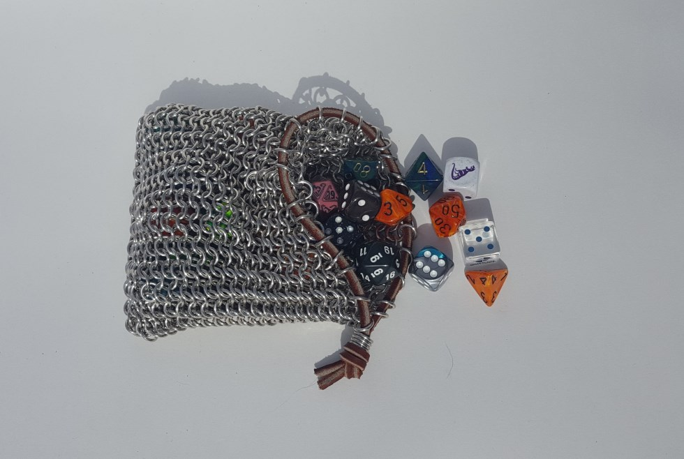 Hand Woven Chainmail Dice Bag Leather Drawstring