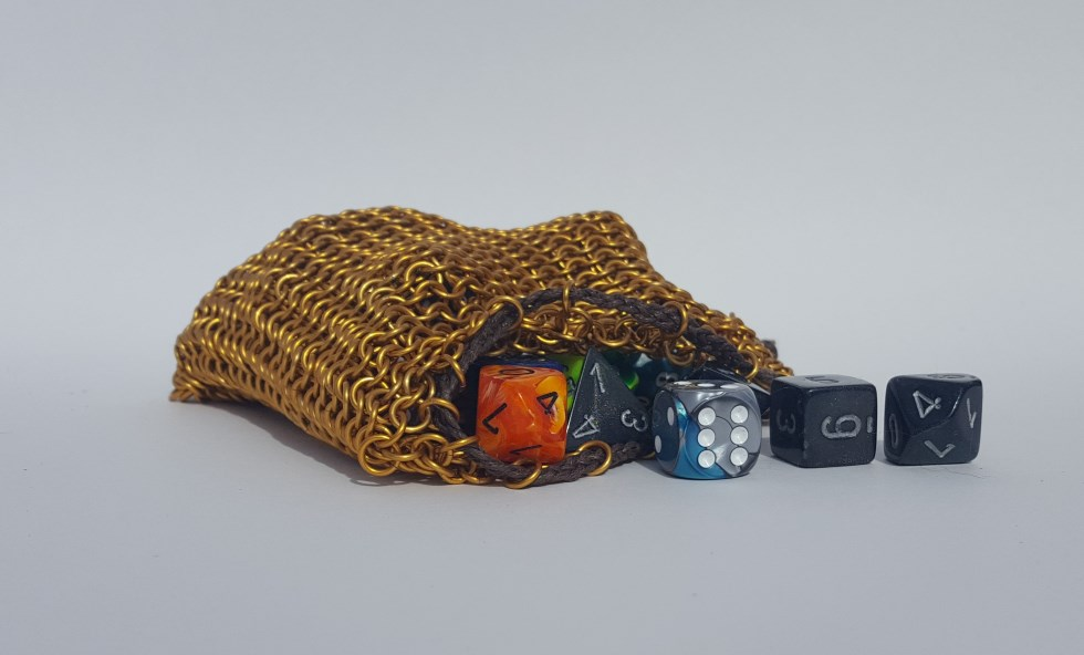 Handmade Chainmaille Dice Bag with Braided Cotton