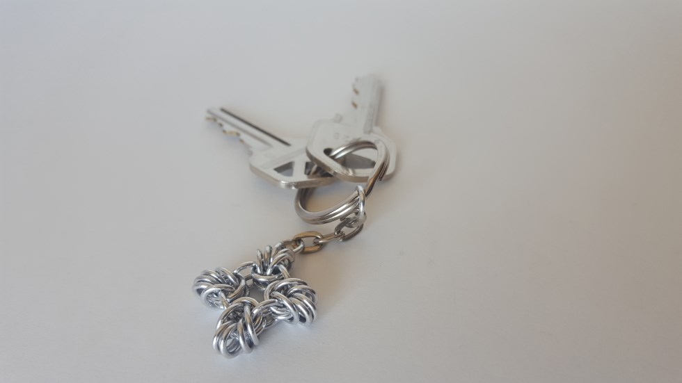Hand Woven Chainmaille Keychain Byzantine Square