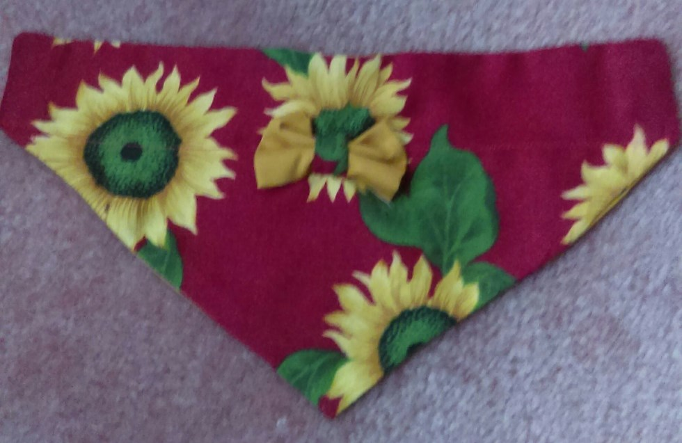 (XS) Sunflower dog bandana