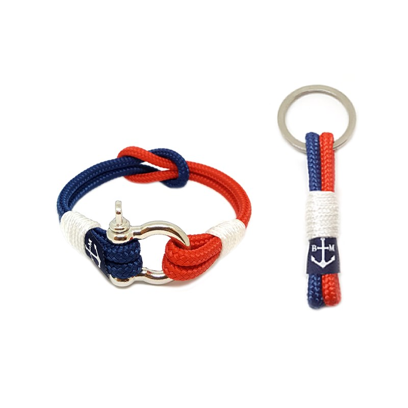 Red and Dark Blue Bracelet and Keychain