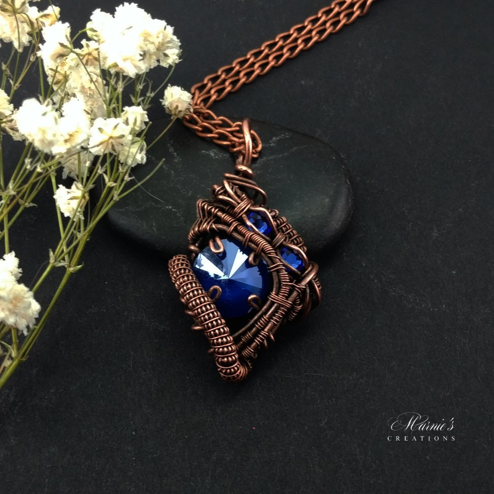Copper Pendant with Blue Crystal