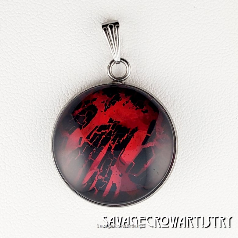 25mm Cabochon Red and Black