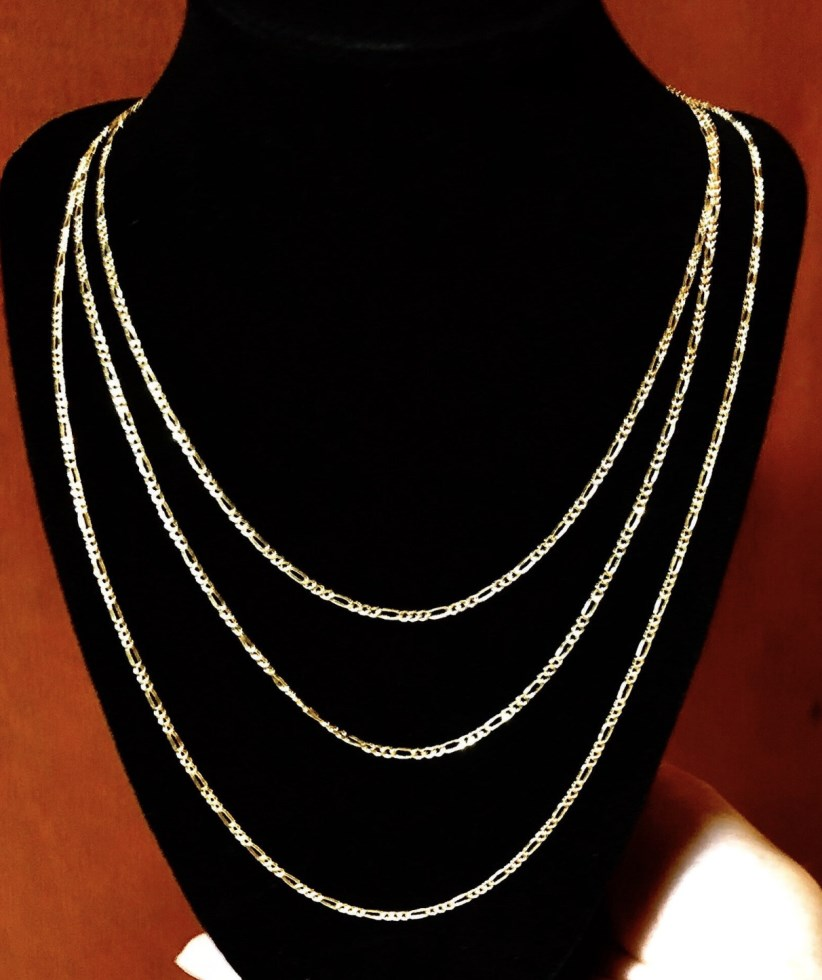 10K Yellow Gold Figaro Chain Necklace 18-24