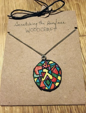 Abstract Multicolor Wooden Necklace