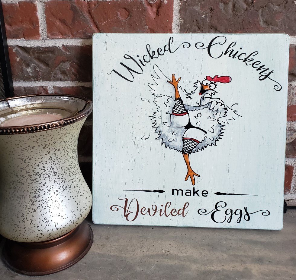 Wicked Chickens, Deviled Eggs, Kitchen Sign, Kitch
