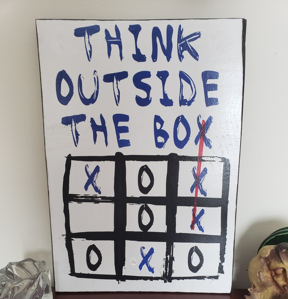 Think Outside the Box, Hand Painted Sign