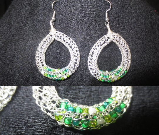 Silver and green bead earrings