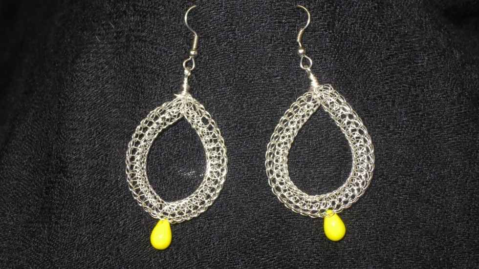 Silver and Yellow Teardrop earrings