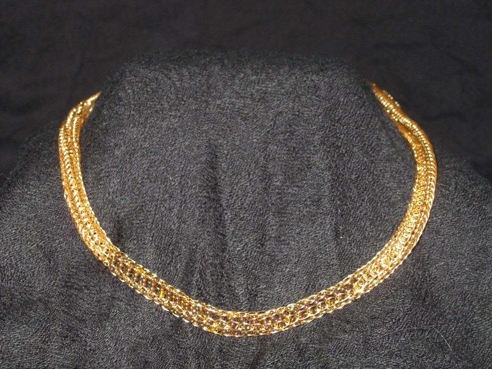 Gold  Iridescent beaded Necklace