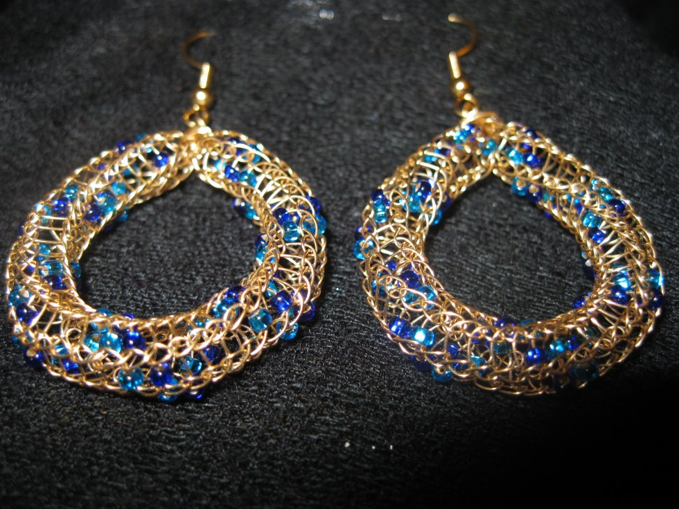 Gold and Blue Beaded Earrings