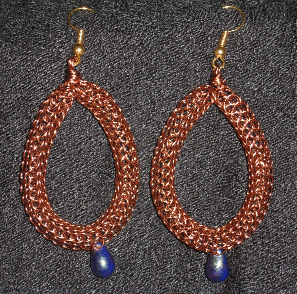 Copper and Blue Teardrop Earrings