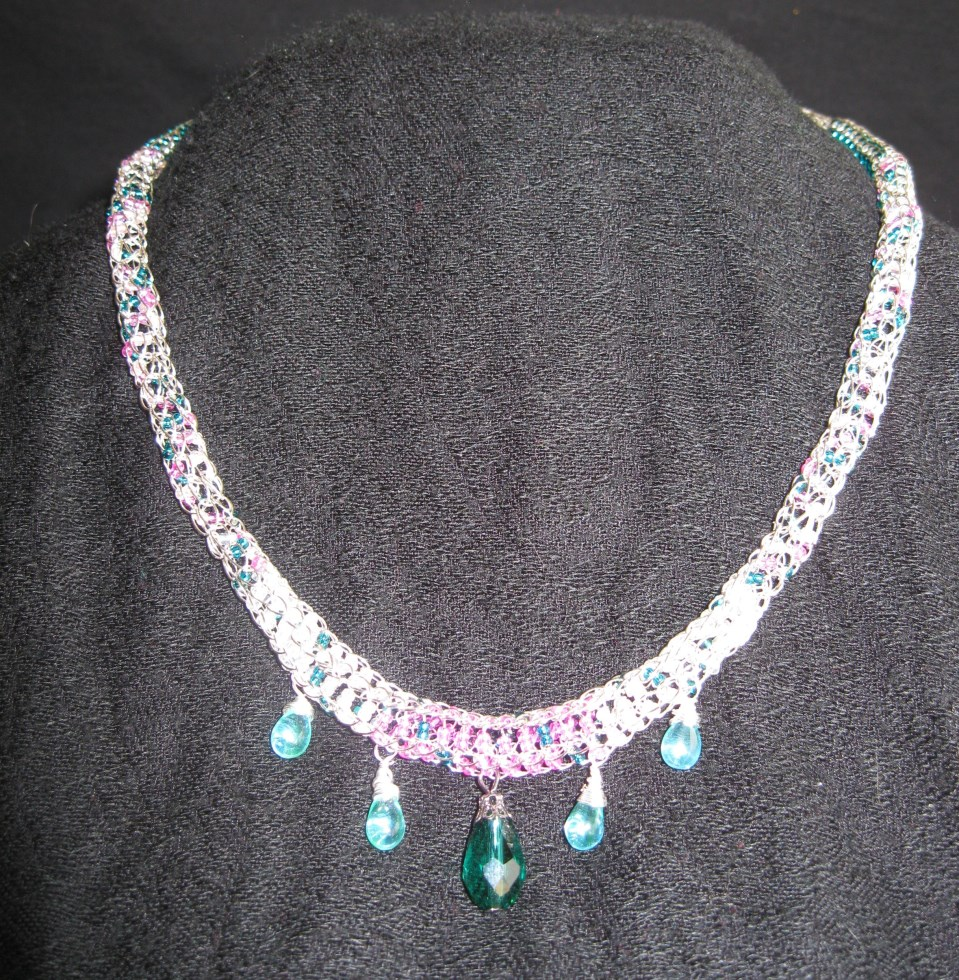 Pink, Green and white Bead and Teardrop Necklace