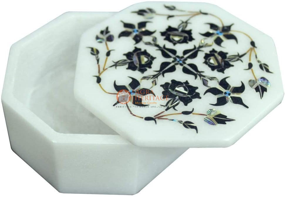 Buy Marble Jewelry Inlay Decorative Box Multi