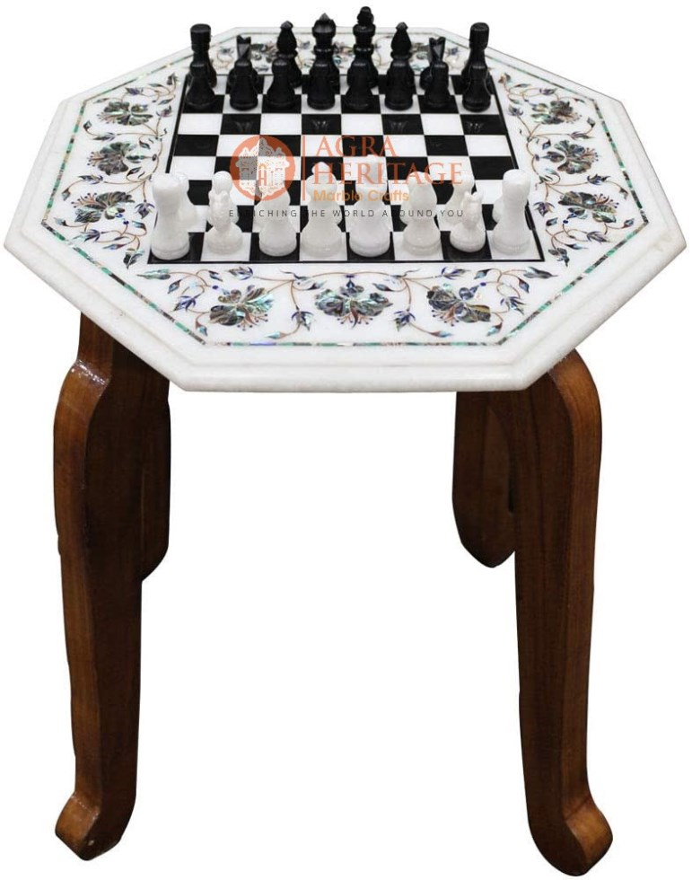 Marble Coffee Chess Table Top Paua shell Floral