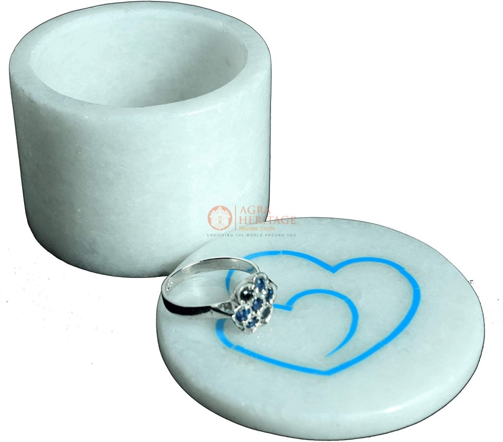 Marble Jewelry Ring Box Heart Inlay Floral Arts