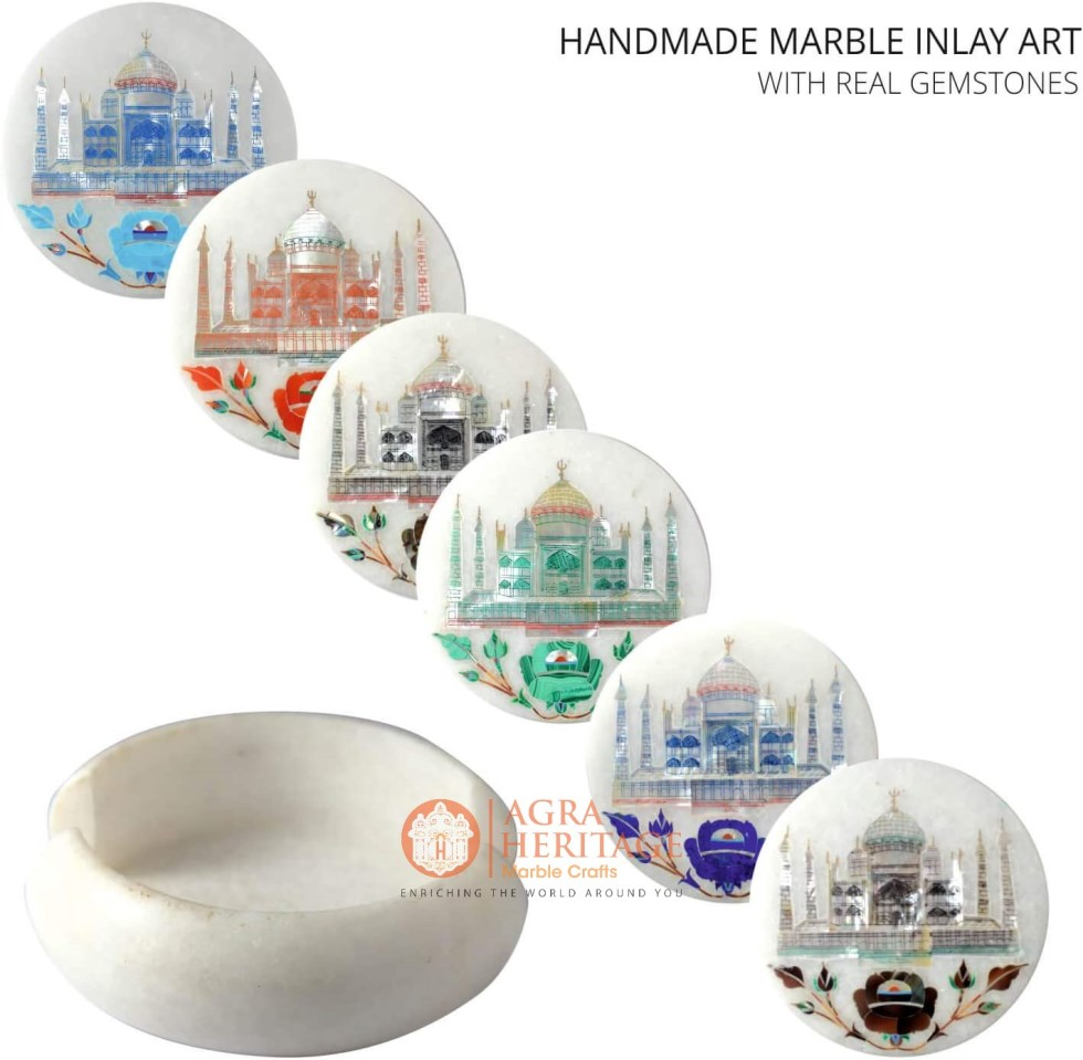 White Marble Coaster Set Taj Mahal Inlaid Handmade
