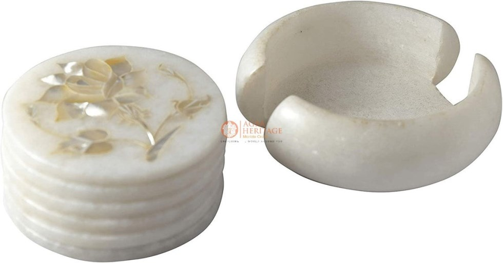 White Marble Round Coaster Set Mother of Pearl