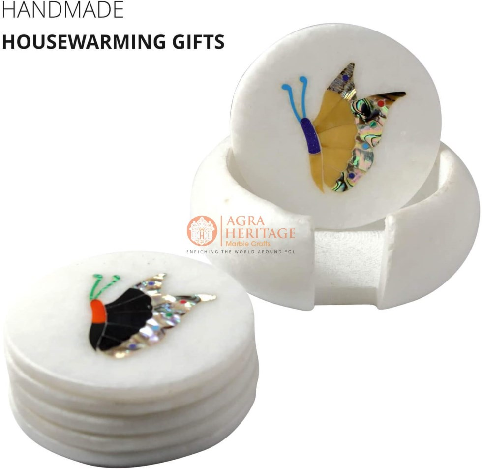 White Round Marble Custom Coaster Set Butterfly