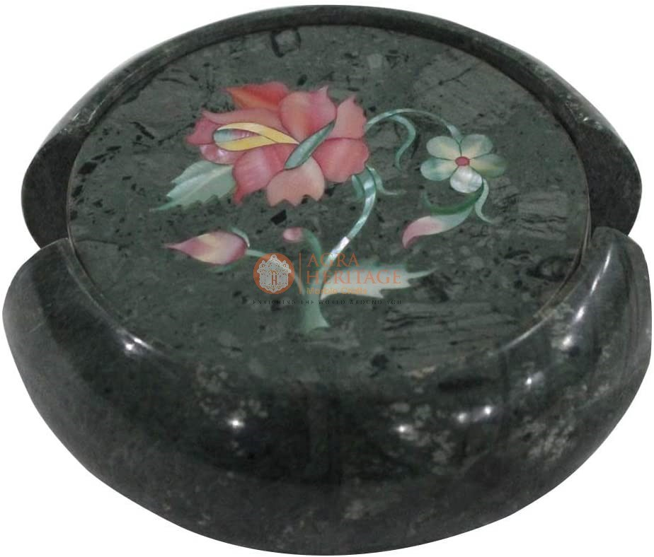 Green Round Marble Custom Coaster Set Pink Inlay