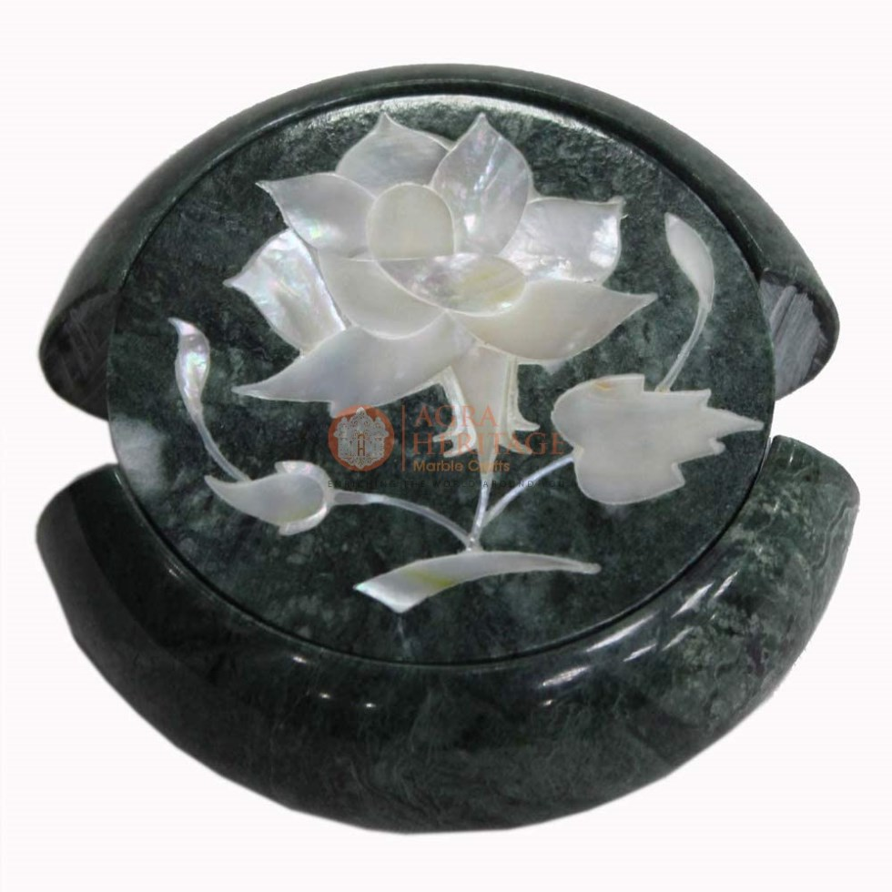 Round Marble Custom Coaster Set Mother of Pearl