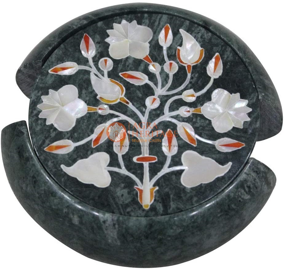 Round Marble Coaster Set Mother of Pearl