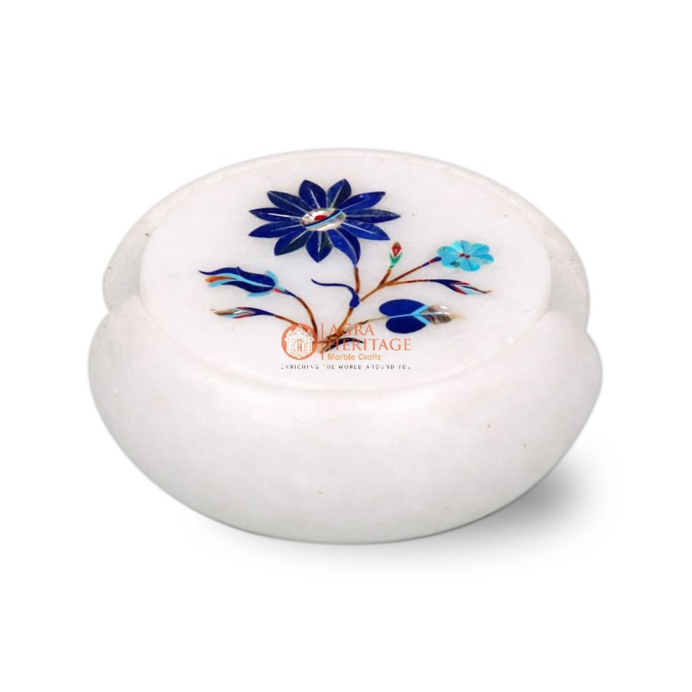 Marble Round Inlaid Floral Table Coaster Set Decor
