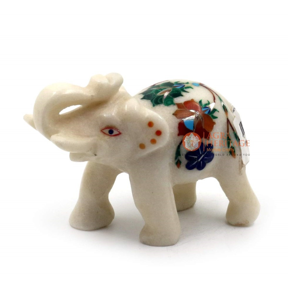 White Trunk Up Elephant Statue Carnelian Floral