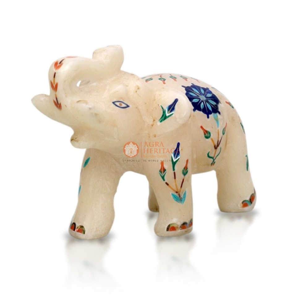 Decorative Marble Floral Trunk Up Elephant Decor